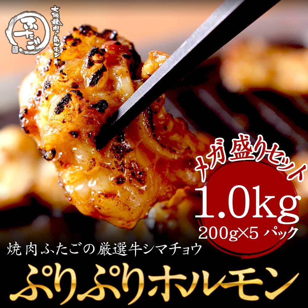 厳選牛ぷりぷりホルモン1.0kg(200g×5パック)合計1.0kg メガ盛りセット